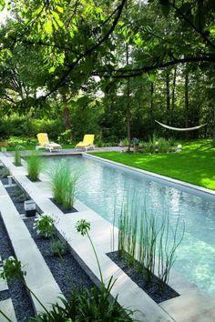 aménagement extérieur, longue piscine dans beau jardin paysager