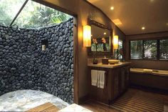 The Wakaya Club & Spa on Wakaya Island in Fiji lets you enjoy the best of both worlds with their indoor/outdoor shower: