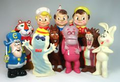70's Cereal mascots. Front row, left to right: Cap'n Crunch, Tony the Tiger,Boo-Berry, Count Chocula, Frankenberry, ?, Trix Bunny. Back row: Snap, Crackle & Pop.