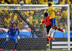 Ochoa blocking a header done by Neymar Jr. Mexico vs. Brazil World Cup 2014