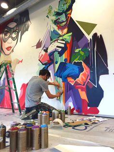 painting Walls Office - Decorating Bedrooms With Wallpaper. Graffiti Wall Art, Murals Street Art, Street Art Graffiti, Wall Murals, Office Mural, Office Artwork, Office Wall Art, Mural Cafe, Wall Drawing