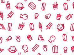 Dribbble - Food Pattern [gif] by lucas marinm Food Patterns, Textures Patterns, Food Graphic Design, Web Design, Cocktails Drawing, Custom Icons, Food Icons, Paper Packaging, Graphic Patterns