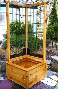Gartenprojekte / Garden projects Corner Planter Box with Climbing Trellis Parents – Exercise Your Co Outdoor Projects, Garden Projects, Diy Projects, Woodworking Projects, Woodworking Furniture, Pallet Projects, Woodworking Plans, Garden Boxes, Raised Garden Beds