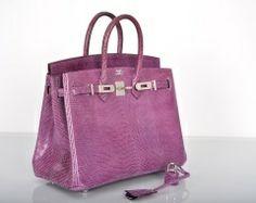 Herms Violet Lizard 25cm Birkin Bag Palladium Hardware