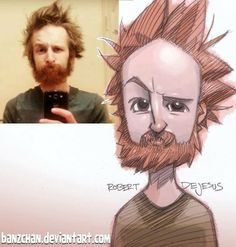 Dude with awesome hair. Robert de Jesus. Drawing. Beards.