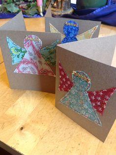 Fabric Scrap Angel DIY Christmas Cards
