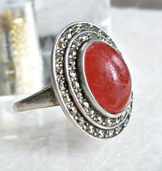 Art Deco Carnelian Marcasite Ring Sterling Silver Signed Uncas Oval Layered Antique Size 8 by Oldtreasuretrunk on Etsy