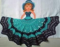 Resultado de imagem para pano de prato com boneca de croche passo a passo