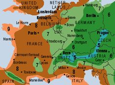 Hardiness Zone Map for Western Europe, the Netherlands is in zone 8
