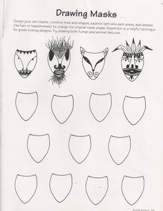 Ande Cook's Drawing Masks worksheet and Art Education Substitute Lesson - No Corner Suns Ande Cook's Art Sub Lessons, Drawing Lessons, Art Sub Plans, Art Lesson Plans, Art Substitute Plans, High School Art, Middle School Art, Art Doodle, Art Handouts