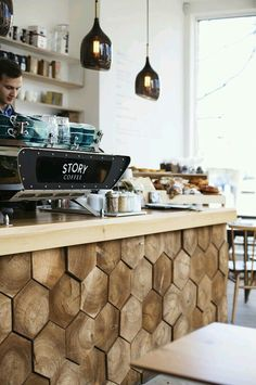 THAT COUNTER, lovely idea, wood style, warm atmosphere, welcoming desk, bar cafe restaurant