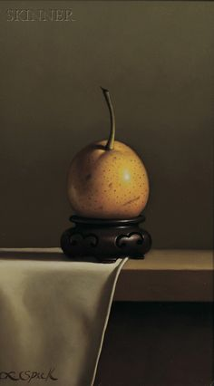 "American & European Paintings & Prints - Sale 2560B - Lot 552  Loran Speck (American, b. 1943)     Still Life with Oriental Pear   Signed ""L. Speck"" l.l.   Oil on Masonite, 12 x 7 in. (30.5 x 17.8 cm), framed.   Condition: Minor surface grime.   Estimate $1,200-2,700  Sold for $1,067.00"
