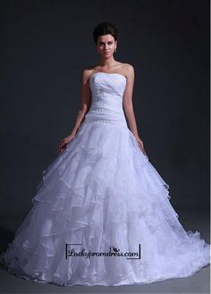 Alluring+Organza&Satin+Ball+gown+Sweetheart+Neckline+Dropped+Waistline+Wedding+Dress