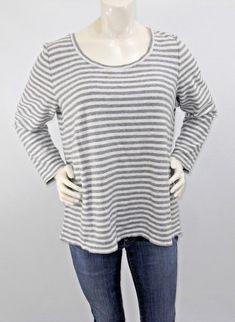 b5f1ac2dd06 J Jill Stretch Gray White Striped Knit Top Long Sleeve Scoopneck Cotton  Large  JJill