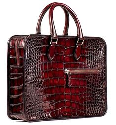 Alligator Briefcase, Alligator Crossbody Laptop Business Bag for Men