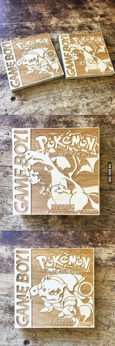 These fan-made Pokemon box-art wood engravings are simply awesome!