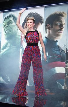Surprise! It's a jumpsuit.Scarlett Johansson in Balmain.