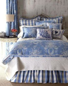 Beautiful mixture of blue toile and checks in a rustic French bedroom....    ᘡղbᘠ