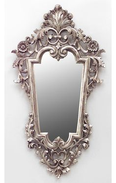 Italian Rococo style Cent) silver gilt carved and filigree vertical shaped wall mirrors with scroll design (PRICED EACH) Vintage Mirrors, Antique Frames, Royal Furniture, Classic Furniture, Diy Mirror, Wall Mirrors, Wood Carving Designs, Beautiful Mirrors, Rococo Style