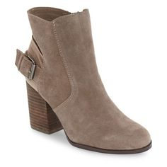 Women's Sbicca 'Lorenza' Buckle Strap Zip Bootie (285 BRL) ❤ liked on Polyvore featuring shoes, boots, ankle booties, taupe suede, taupe suede bootie, suede bootie, taupe booties, suede ankle boots and suede boots