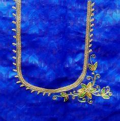 Aari Work Blouse, Hand Work Blouse Design, Simple Blouse Designs, Sari Blouse Designs, Stylish Blouse Design, Blouse Patterns, Handmade Embroidery Designs, Embroidery Neck Designs, Maggam Work Designs