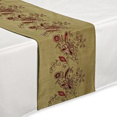 The rich embroidery of this table runner against a subtle sage green creates a lovely, formal addition for any table. Table Runners, Sage, Embroidery, Create, Gift Registry, Okinawa, Fine China, Bath Towels, Linens