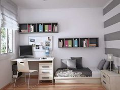 small bedroom practical white teenager room design striped wall