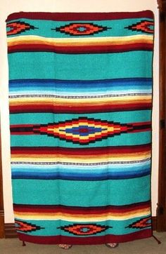Saltillo Mexican Throw or Area Rug Tapestry Southwestern Lg Aqua Green Southwest Home Decor, Southwestern Area Rugs, Southwestern Style, Mexican Rug, Mexican Stuff, Mexican Fabric, Navajo Rugs, Unique Rugs, Types Of Rugs