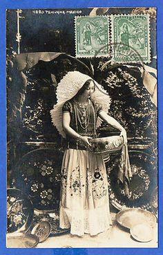 Mexico Tehuana Costume Young Woman Maximum Vintage Postcard