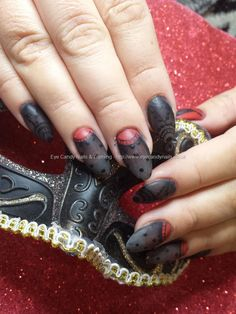 Sheer black and red gel with freehand lace design #nails #nailart