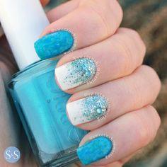 More Frozen nails Simple Nail Art Designs, Cute Nail Designs, Easy Nail Art, Blue And White Nails, Blue Nails, Funky Nails, Hot Nails, Hair And Nails, Frozen Nails