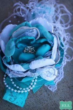 Tremendously Turquoise Headband Shabby Chic by ExquisiteLittleLady, $25.99