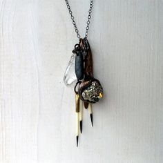 Tribal Assemblage Necklace Pyrite Copper Crystal Porcupine Quill