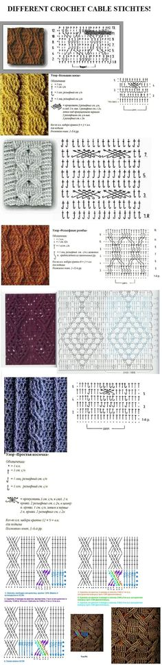 Erilaisia neulontakuvioita different crochet cable stitches