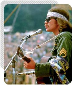 country joe at woodstock.....come on all you big strong men, uncle sam needs your help again....got himself in a terrible jam way down yonder in viet nam....throw down your books & pick up a gun....we're gonna have a whole lot of fun.