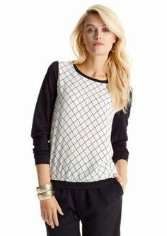CYNTHIA Cynthia Rowley  Printed Contrast Sleeve Knit Top