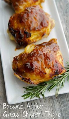 Balsamic Apricot Glazed Chicken Thighs - Carrie's Experimental Kitchen #chicken #glutenfree