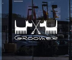 Great Windows Vinyl Decals and Stickers For Shop Stores and Home Interiors. Dog Grooming Salons, Dog Grooming Business, Pet Grooming, Salon Signs, Dog Salon, Dark Roots, Vinyl Wall Decals, Animals And Pets, Pet Dogs