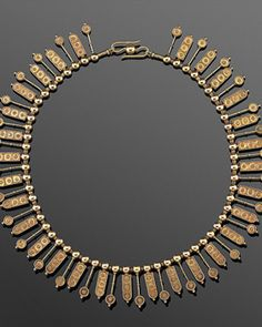 Etruscan Revival Yellow Gold Fringe Necklace