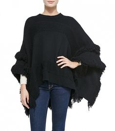 Fringe helps take a casual sweater to the next level. // Derek Lam for Neiman Marcus Cashmere Poncho with Fringe