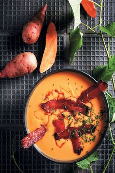 This sweet potato soup with maple and whisky-glazed bacon is the only way to beat the winter chill. It's the perfect combination of sweet and salty.