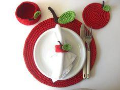 Red Apple Basket. Cherry, Wine Carmin Scarlet, Drink Beverage, Green Leaves, Decor Crochet Fruit Collection
