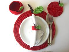 Red Apple Basket. Cherry, Wine Carmin Scarlet, Drink Beverage, Green Leaves, Decor Crochet Fruit Collection
