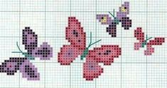 Butterflies, Cross Stitch, Embroidery, Cross Stitch Embroidery, Stuff Stuff, Flowers, Cross Stitch Pictures, Border Tiles, Little Birds