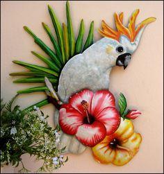Tropical Home Decor, Tropical Colors, Tropical Design, Tropical Decor, Tropical Birds, Outdoor Metal Wall Art, Metal Art, Parrot Bird, Whimsical Art