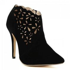 Graceful Pointed Tote and Hollow Out Design Women's Ankle Boots