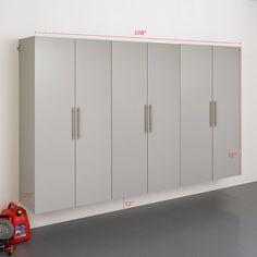 """Prepac HangUps E 108"""" Storage Cabinet 3-piece Set   Kohls Storage Shed Organization, Garage Storage Solutions, Storage Spaces, Locker Storage, Basement Storage, Wall Storage, Linen Storage, Metal Garage Cabinets, Garage Epoxy"""