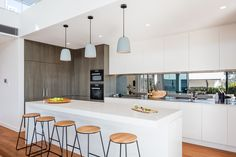 Kitchen, Northbridge by McNally Architects Island Bench, Stone Island, Cupboards, Compliments, Architects, Crisp, Kitchen Design, Kitchens, Ceiling