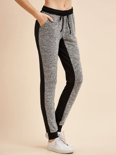 Pantalones con cordón en la cintura-Sheinside