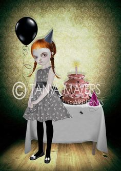 Lowbrow Art Print - Goth Girl Art - It's My Party & I'll Cry If I Want To